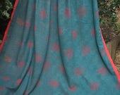 Teal and Orange vintage kantha quilt, Kantha throw, Sari blanket, Denim blue kantha quilt, Yellow Sari throw, Kantha blanket,Boho throw
