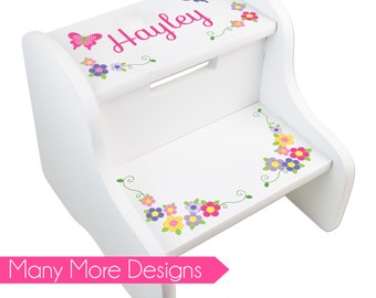 Personalized Step Stool for Girl's Custom Stepping Stools Toddler Two Step White new born baby shower gift for child's nursery girl FIXE-whi