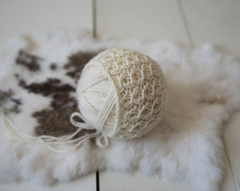 Elisabeth Lace Knit Bonnet Newborn Photography Prop