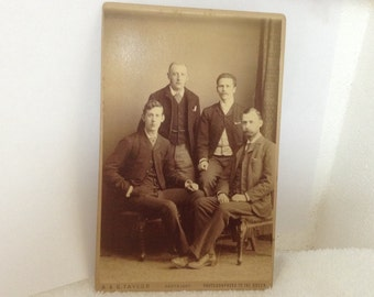 origional antique cabinet card 4 stately gentleman by Taylor photographer to the Queen London 1800's free ship
