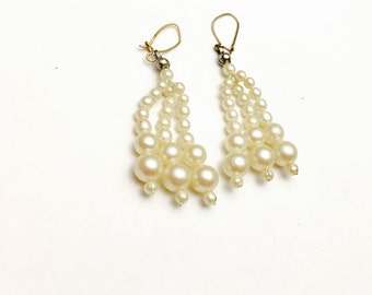 Faux Pearl Bridal Earrings, Gold Tone, Vintage Wedding, Clearance SALE, Item No. B543