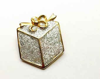 Vintage Christmas Present BROOCH, silver  & Gold Tone, Holiday Sale, item No. X052