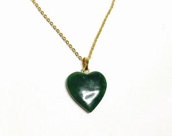 Vintage, Green  heart pendant/Necklace, gold tone, Figural, Clearance Sale, Item No. E302