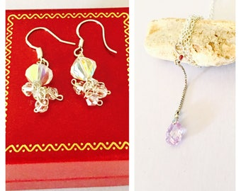 Crystal Pendant & Earrings Set, Amethyst and Clear Swarovski, Sterling Silver, February Birthstone Color, Item No. S236