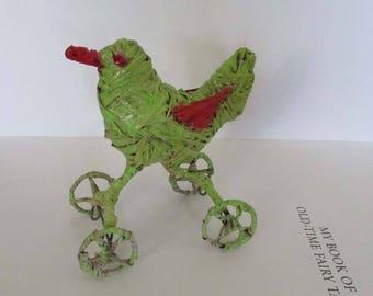 Vintage Mid Century Small Raffia Bird Sculpture on Wheels Knick Knack Kitsch