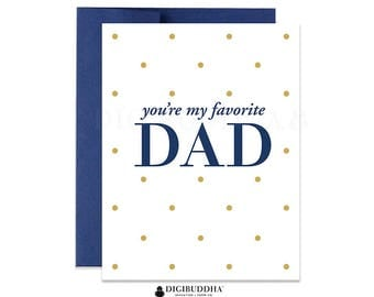 Traditional Father's Day Card You're My Favorite Dad Cards for Dad Cards for Father's Day Funny Father's Day Card Navy Fathers Day CF0004