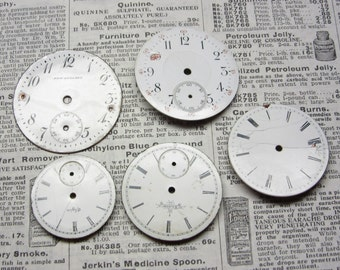 Watch Faces Watch Parts Lot of 5 Porcelain Pocket Watch Clock Parts of Small Antique Clock Faces Time Parts for Art or Jewelry Industrial