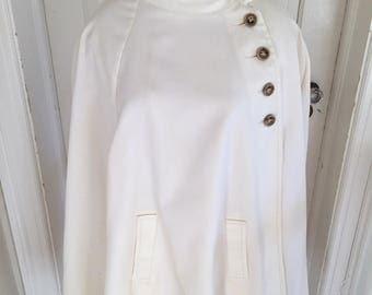 Vintage 1960s Women's Ivory Off White Cotton Canvas Cape Hovland-Swanson OS