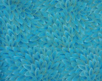 Teal Petals by Hi-Fashion Fabrics, Teal and Gold Cotton Fabric
