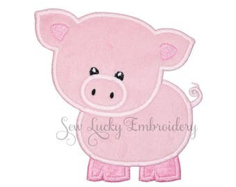Mr Pig Applique Embroidery Patch, Sew or Iron on
