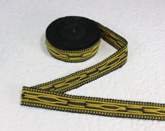 Woven Trim (6 yards), Woven Border, Cotton Ribbon, Grosgrain Ribbon, Dress Border, Border Trim, Ikat Fabric, R418