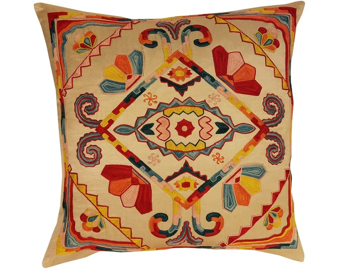 Hand Embroidered Suzani Pillow Cover msp797, Suzani Pillow, Suzani Throw, Boho Pillow, Suzani, Decorative pillows, Accent pillows