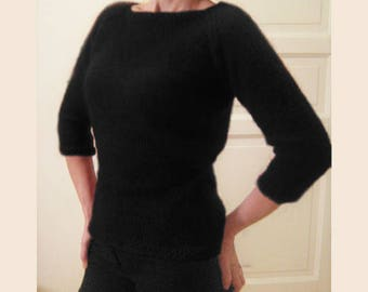 custom made hand knitted black mohair sweater