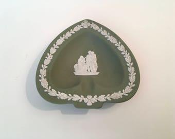 Vintage Green Wedgwood Ashtray/Pin Dish/Catchall, Green Oakleaf and Acorn Motif, Ships Free