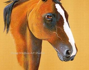 Horse Painting Original on illustration board, 7 x 9 , Acrylic, Wall Art, Home Decor, Art Print, Wildlife Art, Gift, Office Decor
