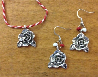 Rose Pendant and Earring Set