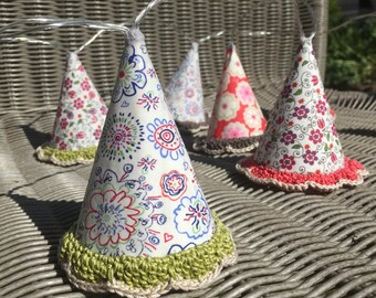 Fairy lights LED lampshades. FREE UK P &P. Liberty fabric lampshade set of 10. Hand crochet trim.