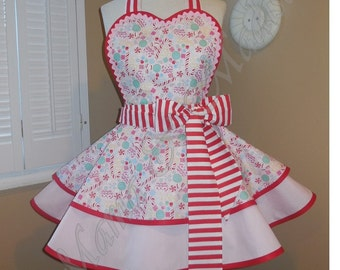 Sugar Rush Candy Canes Woman's Retro Apron With Tiered Skirt And Bib...Last One Available