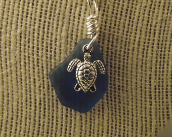 Blue Sea Glass Pendant with Sea Turtle Charm