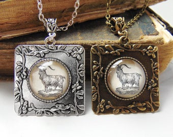 Goat Necklace in Bronze or Silver
