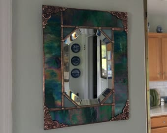 Stained Glass Mirror|Rectangular Beveled Wall Mirror|Teal Iridescent|Home & Living|Home Decor|Mirrors|Glass|Handcrafted|Made in USA