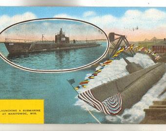 Linen Postcard, Manitowoc, Wisconsin, Launching a Submarine