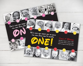 Disney Inspired Timeline 1st Birthday Invitation (Mickey or Minnie colors) - Digital File