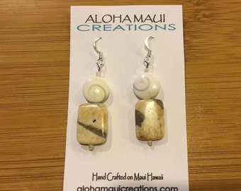 Silvermouth Shell Semi Precious Stone Earrings