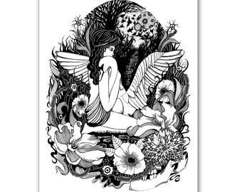 Leda and the Swan- Greek Mythology A4 Print