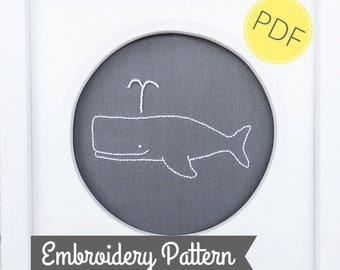 PDF Embroidery Pattern - Whale Embroidery Pattern - Whale digital download - beginner hand embroidery pattern - Nautical Embroidery