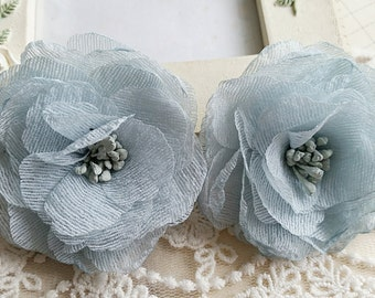 45 mm Mint green Organza Camellia Flowers (s.s)