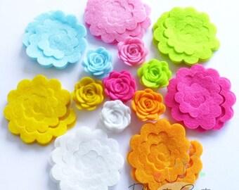 Felt Flower Shapes Unassembled II. Set of 21 pieces, felt shapes, felt flower, felt roses, flowers, flowers for headbands, felt supplies