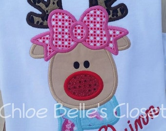 Girly Reindeer with Scarf Ruffle Shirt