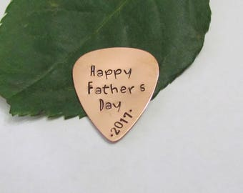 Copper Guitar Pick -Personalized -Date - Happy Fathers Day -  Fathers Day gift - Christmas gift for dad -organza gift bag for gift giving