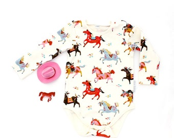 Organic cotton baby bodysuit long or short sleeve 'Horse and Rider'