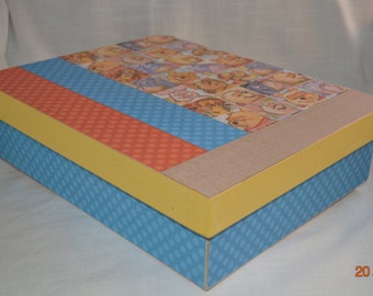 Winnie the Pooh Decorative Memory Box. Keepsake Box. Ideal for Baby Shower, Adoption, Homecoming. Nursery Storage, Changing Table Organize