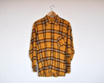 Vintage Yellow Plaid Flannel Lumberjack Button Down Grunge Work Shirt