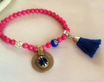Vintage KUCHI pendant bracelet , pink howlite KUCHI bracelet , tribal bohemian gypsy bracelet , indie nomad bracelet