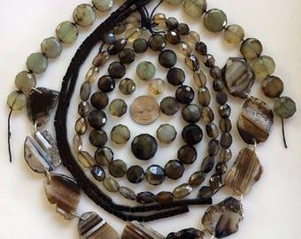 Bead Destash, Mixed Lot, Banded Agate, Chalcedony, Onyx