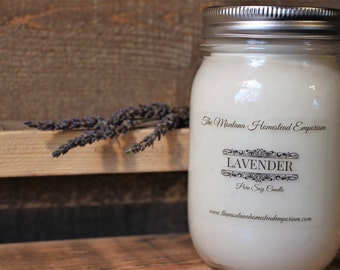 LAVENDER scented all natural soy candles mason jar candles handpoured SPA aromatherapy candles Calming scent cleansing Montana made candles