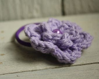 Hair Bobble in Lilac with Glass Pearl Bead