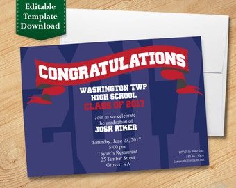 Blue and Red Graduation Invitation Template, High School Graduation Invitation, College Graduation Invitation, Graduation Party 2017