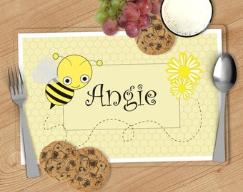 Bumble Bee - Kids Personalized Placemat, Customized Placemats for kids, Kids Placemat, Personalized Kids Gift