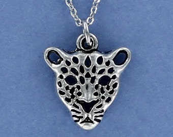 LEOPARD Face Necklace - Pewter Charm on a FREE Plated Chain