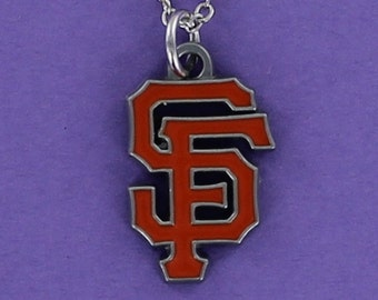 SAN FRANCISCO Giants Logo Necklace - Team Logo Pewter Charm on a FREE Plated Chain