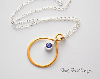 Gold Eternity Circle Necklace with Tiny Purple Tanzanite CZ Charm Gold and Silver Eternity Jewelry Colorful Modern Summer Necklace