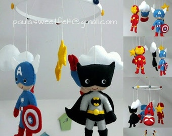 Super Heroes baby crib felt mobile