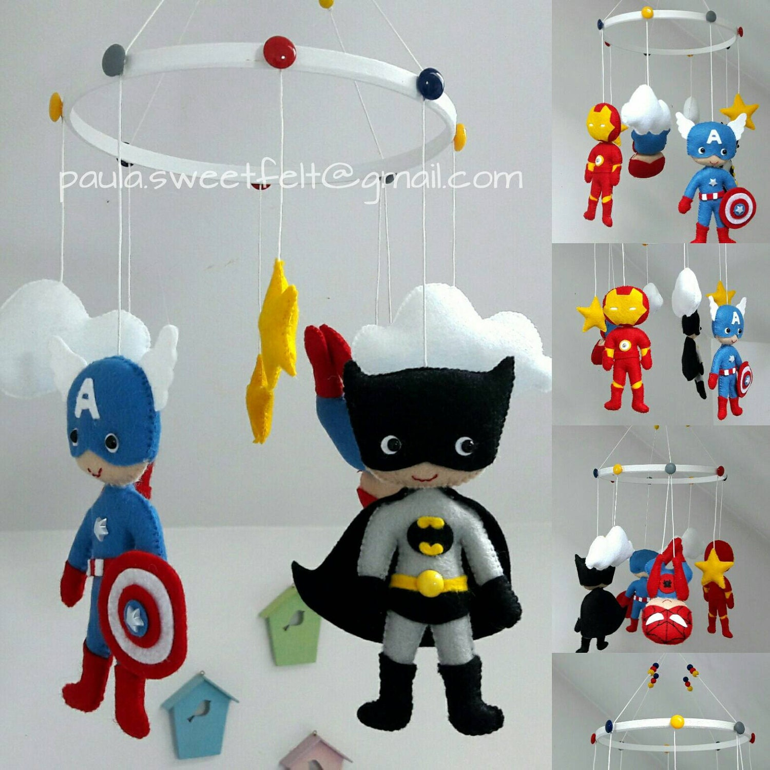 Baby cribs in ghana - Super Heroes Baby Crib Felt Mobile