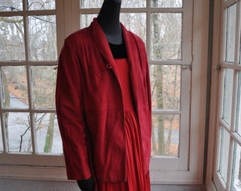 NEW YEARS SALE Ruby Red Suede Jacket/1970s Vintage/Cranberry Red/Genuine Soft Suede Jacket/Size Xs Small