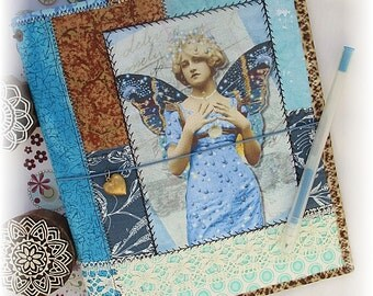 OOAK A5 Notebook Cover, Blue Fairy Notebook, Fabric Collage A5 Notebook